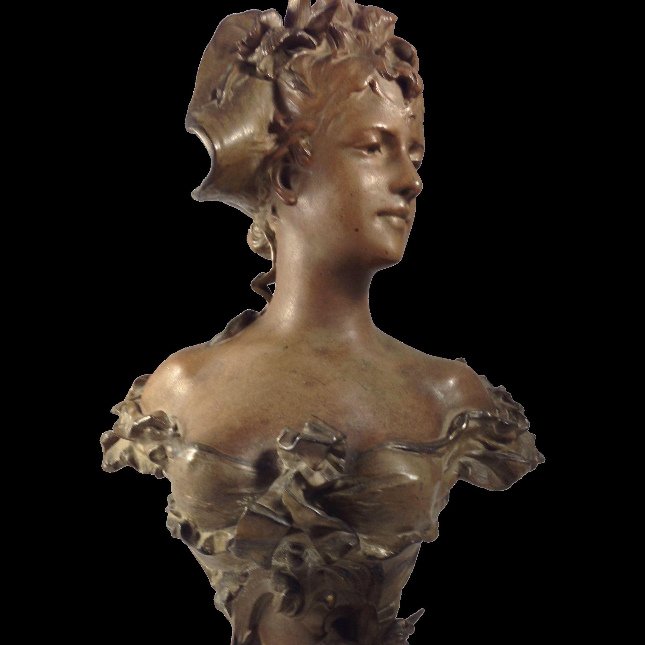 Elegant Art Nouveau Cast Bust Signed By Anton R Nelson