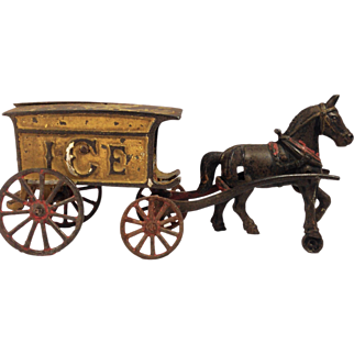 Antique Hubley Cast Iron ICE horse drawn wagon