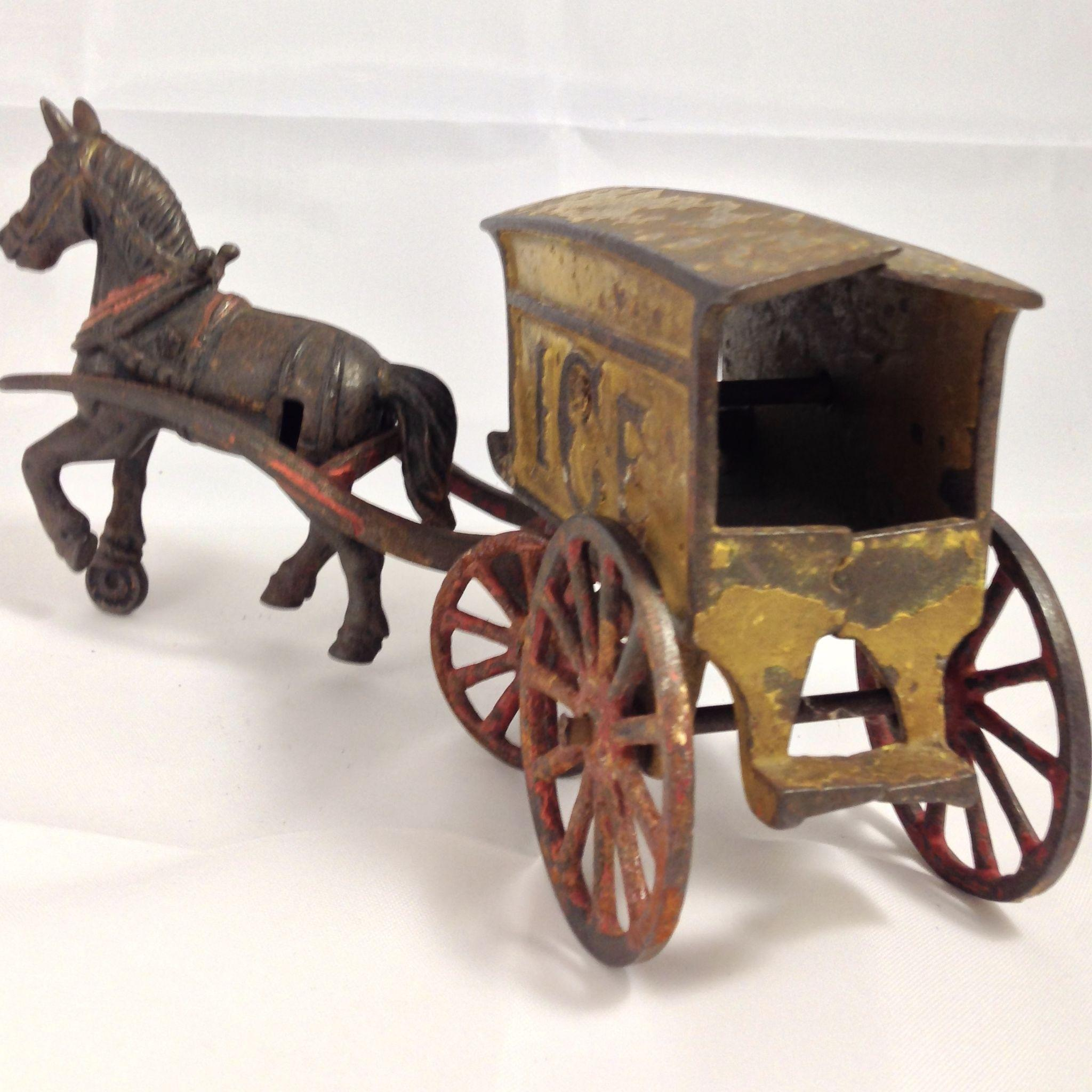 Antique 2 Antique Country American Wood Cast Iron Wagon Carriage Buggy - Roll over large image to magnify click large image to zoom