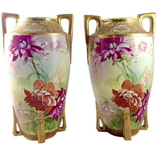 Antique, 1891, Nippon [Hard-to-find] Matching Porcelain Vases, Perfect Condition