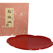 Vintage Japanese Wood & Red Lacquerware Plate with box