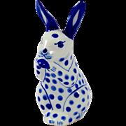 Stoneware Ceramic Blue Polka-Dot Bunny Rabbit