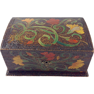 Late 19th Century Pyrography Casket Box with key