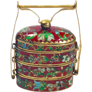 Antique Japanese Meiji Period, or older, Cloisonné Inro with 24kt Gold