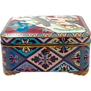 RARE Antique LARGE Japanese Meiji Period Cloisonné Box