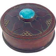 Vintage Art Deco Copper, Bronze and Turquoise Box