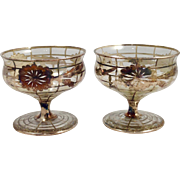 Art Deco Sterling Overlay on Glass Dessert Dishes-8 in set