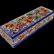 Antique Papier-Mache Hand Painted Floral Pencil Box
