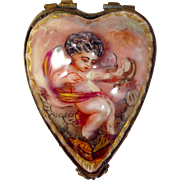 Antique (c.1771-1834) Capo-Di-Monte or Capodimonte Trinket Box with Cherub