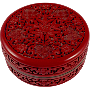 Chinese Genuine Cinnabar Lacquer and Enamel Box
