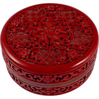 18th Century Chinese Genuine Cinnabar Lacquer and Enamel Box