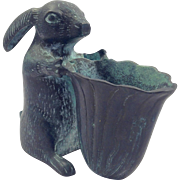 Vintage Bronze Rabbit with Basket