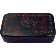 18th Century Handmade Papier-mâché on wood painted Snuff Box with Gold and metal inlay