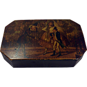 RARE English Early 19th Century Hand Painted Papier-mâché Snuff Box, ode to Tobias Smollett (c.1721-c.1771)