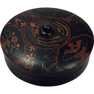 Antique late 19th Century Japanese Papier-Mache on Wood Round Hand Painted Box
