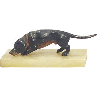 19th Century Cold Painted Dachshund on Marble