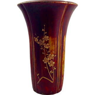 Large Maruni Lacquerware Vase, Hand Made in Occupied Japan