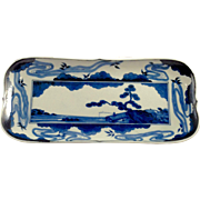 18th Century Japanese Blue and White Porcelain Tray or Dish
