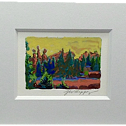 "20th Century Artist: Jodie Wrenn Rippy, Original signed Gouache and Acrylic Painting, ""Garden of The Gods"""