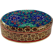 Antique Persian Khatam Micro-Mosaic and Hand Painted Wood and Bone Box