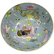 Stunning and Unusual Large Heavy Antique Japanese Arita Imari Bowl with Fowl, Koi and Lotus Flowers