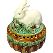 "Antique, late 19th Century, American or English Ceramic Censor with Rabbit, Signed with ""B"""