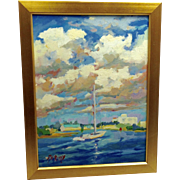 20th Century Artist: Jodie Wrenn Rippy, Original Oil Painting: Banks Channel Sailor