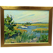 20th Century Artist: Jodie Wrenn Rippy, Original Oil Painting: The Autumn Marsh