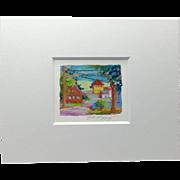 20th Century Artist: Jodie Wrenn Rippy, Original Gouache Painting: Island Street, Eleuthera