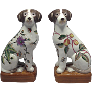 Antique 19th Century Chinese Hand Painted Porcelain Dogs