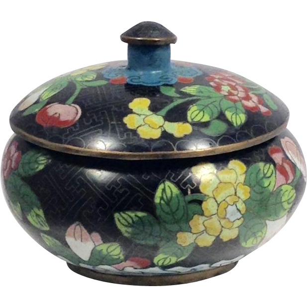 chinese cloisonn tea box container from art deck on ruby lane. Black Bedroom Furniture Sets. Home Design Ideas
