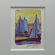 "20th Century Artist: Jodie Wrenn Rippy, Original Gouache Painting, ""Regatta Riggin'"""
