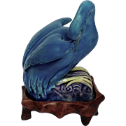 19th Century Chinese Export (c.1891-1921) Porcelain Turquoise Glazed Swan with Stand