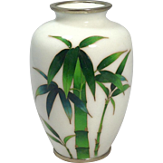 Fine Elegant 19th Century Japanese White Cloisonné Vase Featuring Bamboo