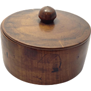 18th Century Hand-turned Large Round Covered Wood Box Depicting New England Saltbox Houses