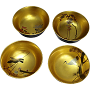 Early 20th Century Japanese Gorgeous Gold and Silver Makie Lacquer on Wood Bowls