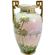 "Nippon (Japan) Hand Painted Porcelain Vase with ""hand painted"" Stamp"