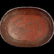 Antique Japanese, Meiji Period, Woven Metal Tray