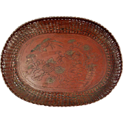 Antique Japanese, Meiji Period, Woven Metal Tray