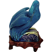 Chinese Export Turquoise Swan on Stand