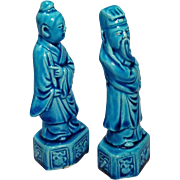 Chinese Export Turquoise Immortal Statuettes - Red Tag Sale Item