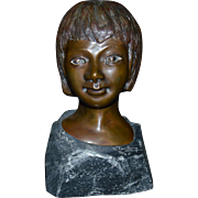S. Terling signed, 2 of 25, Bronze Bust of Child