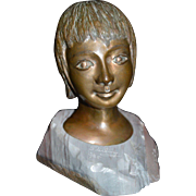 S. Terling signed, 3 of 25, Bronze Bust of Child