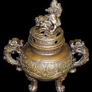 Bronze Incense Burner- Chinese Fu Dog