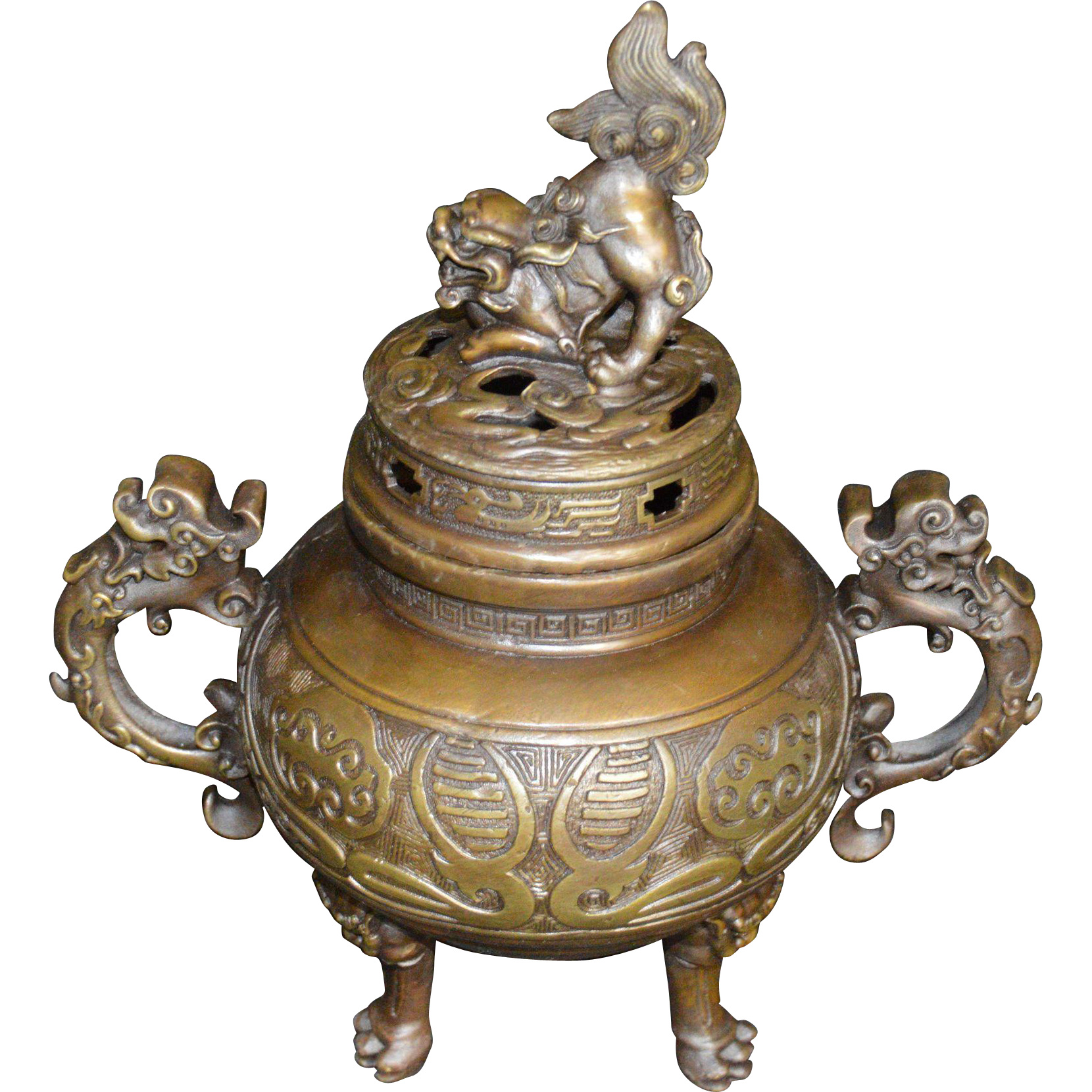 Bronze Incense Burner Chinese Fu Dog From Hollin Gate On