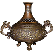 Bronze Incense Burner- Urn Shaped with Chinese Characters and Lucky Flying Bats