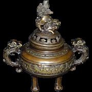 Bronze Incense Burner- Three Legged  Fu Dog