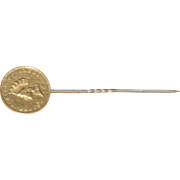 Small Indian Princess Gold Dollar Coin Mounted on Tie Pin