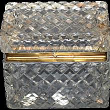 Cut Crystal Casket Box- Acid Etched Baccarat Stamp on Bottom