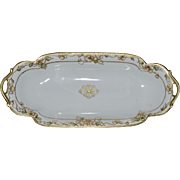 Open-Handled Nippon Relish or Celery Tray with Raised Gold Decoration